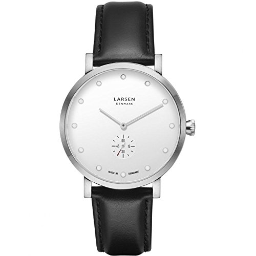 LARS LARSEN Christopher Silver/White Leather 41 mm Watch