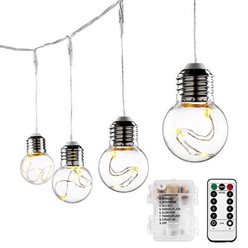 LE 10 Birne Lichterkette Batteriebetrieben, 4.5w Kugel Kupferdraht Lichterkette, LED Beleuchtung...