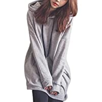 Sport Hoodies MEIbax Damen Mode Einfarbig Kleidung Hoodies Pullover Mantel Hoody Sweatshirt Lang Tunika…