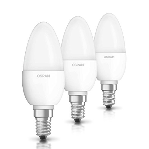 OSRAM LED-Lampe E14 BASE Classic A / 5,7W - 40 Watt-Ersatz, LED Lampe in Kerzenform / matt, warmweiß - 2700K / 3er-Pack