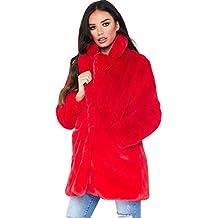 a7eeaaeed317e Femme Manteau Fourrure Synthétique Mode Classique Veste Revers Manche  Longue Oversize Cardigan Gilet Blouson en Peluche