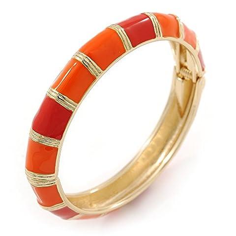 Bright Orange Enamel Hinged Bangle Bracelet In Gold Plating - 19cm L