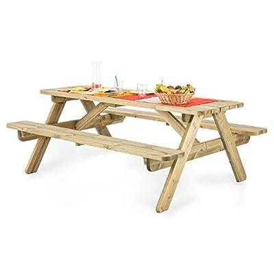 Blumfeldt Picknicker 180 Picknicktisch mit Sitzbänken Sitzgarnitur Gartengarnitur 32mm Kiefernholz (inkl. Sonnenschirmaussparung Ø 50mm, witterungsbeständige Kesseldruckimprägnierung, 45 kg)