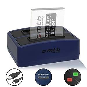Caricabatteria doppio (USB) Canon NB-8L per PowerShot A2200, A3000 IS, A3100 IS, A3150 IS, A3200 IS, A3300 IS, A3350 IS - Cavo USB micro incluso (2 batterie simultaneamente caricabili)