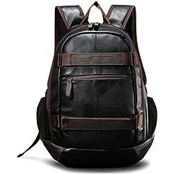 Maod Hombre Negocios Mochila Portátiles Estilo Retro mochilas escolares Cuero Bolsa de escuela Impermeable laptop backpack 15 (Marrón15)