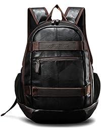 Maod Hombre Negocios Mochila Portátiles Estilo Retro mochilas escolares Cuero Bolsa de escuela Impermeable laptop backpack 15 (Negro)