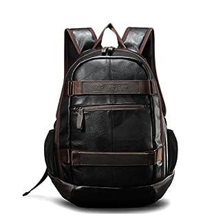41fahunOsRL. SS324  - Maod Hombre Negocios Mochila Portátiles Estilo Retro mochilas escolares Cuero Bolsa de escuela Impermeable laptop backpack 15