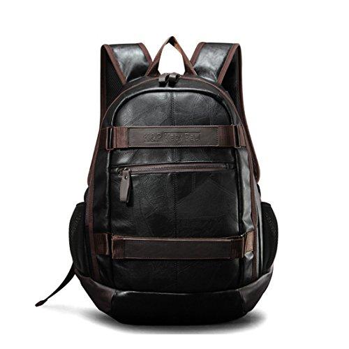 Maod rucksack herren business laptop backpack 15zoll schulrucksack jugendliche freizeit schultasche leder ranzen schule daypack (Braun 15) (Ranzen Leder)