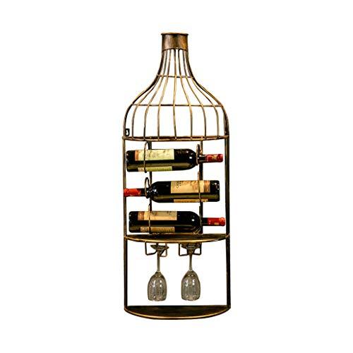 (Eisen Wand Hängen Weinregal, Retro Industrial Wind Hängen Kann Rotwein Hängen Glas, Geeignet Für Bar Home Wein Restaurant Esszimmer Rack, 37 * 18 * 95cm, 3 Flaschen Wein 2 Tassen ( Farbe : Bronze ))
