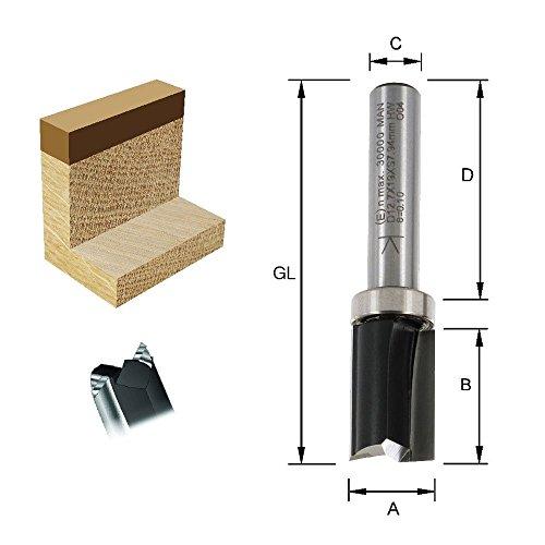 ENT Bündigfräser HW (HM), Schaft (C) 8 mm, Durchmesser (A) 12,7 mm, B 19 mm, D 32 mm, GL 56 mm, mit Kugellager am Schaft
