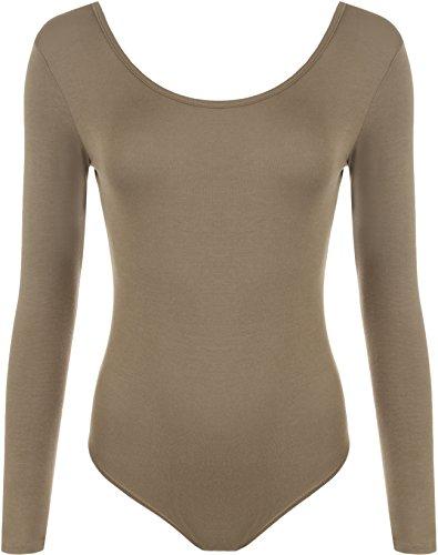 WearAll - Justaucorps à manches longues avec les boutons pressions - Hauts - Femmes - Grandes tailles 44 à 54 Moka