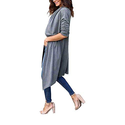 Damen Strickjacke Offene Langarmshirt Streetwear Lose Cardigan Strickmantel Oberteil Tops S-XL Grau