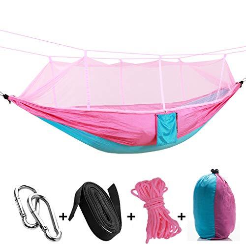 Mmhot Camping-Hängematte, Outdoor-Hängematte mit Moskitonetz Ultraleicht und tragbar unterstützt bis zu 440LBS Doppel-Fallschirm Camping-Hängematten mit Baumgurten zum Wandern Backpacking