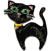 Mode Pailletten schwarze Katze Individuelle Aufn/äher Aufkleber Applikationen