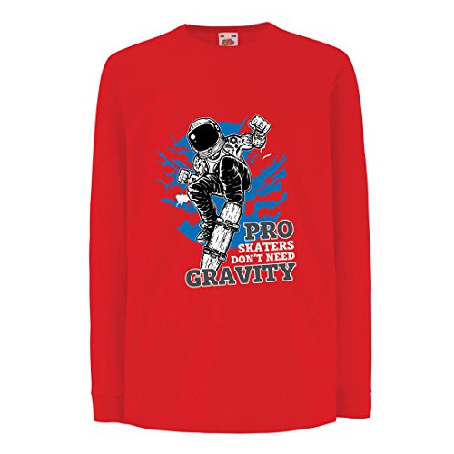 lepni.me Camisetas de Manga Larga Para Niño Pro Skaters Don'T Need Gravity - Refranes del Skateboard, Me Encanta Patinar (12-13 Years Rojo Multicolor)