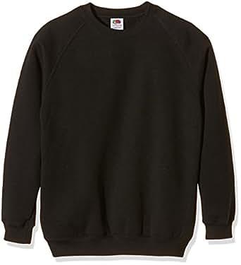 Fruit Of The Loom Kids Childrens Raglan Style Sweatshirt Black 5-6 Years