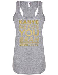 Kanye Needs You, Brah - Light Grey - Women's Racerback Vest - Fun Slogan Tank Top