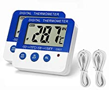 Fridge Freezer Thermometer Max/Min Memory GXSTWU High & Low Temperature Alarms Settings with LED Indicator Digital Refrigerator Thermometer with Magnetic,Stander Blue 2pack