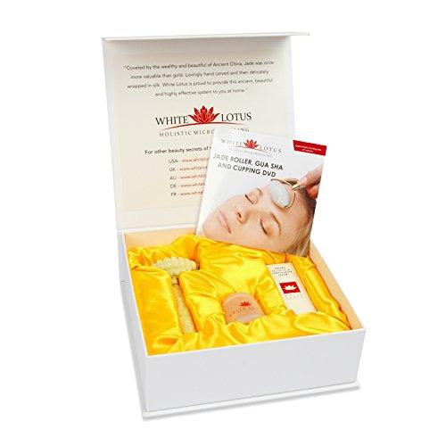 White Lotus Massage-Set | Jade-Roller gegen Dehnungsstreifen Anti-Cellulite | Jade Massage-Roller + organisches Massageöl Anti-Dehnungsstreifen gegen Orangenhaut + chinesische Schröpftherapie + DVD