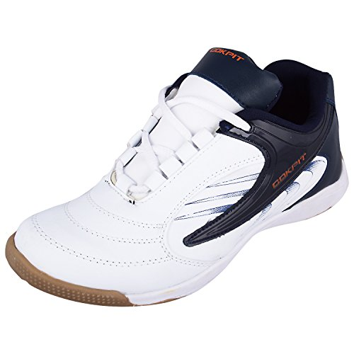 Cokpit Men's White Synthetic Leather Running Sports Shoes 9