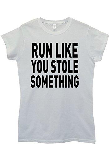 Run Like You Stole Something Gym Sport White White Weiß Women Damen Top T-shirt Weiß