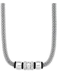 s.Oliver Damen-Collier Swarovski Elements Edelstahl Kautschuk Kristall weiß 45 cm - 567572