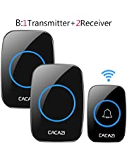 XuBa Remote Waterproof LED Home Wireless Doorbell 38 Songs Chime Door Bell US Plug 1 Transmitter + 2 receivers