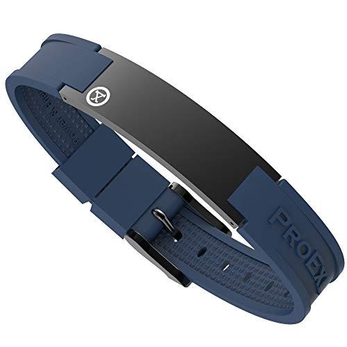 ProExl Sports Golf Magnetarmband Carbon Satin Schwarz mit blauem Band wasserdicht