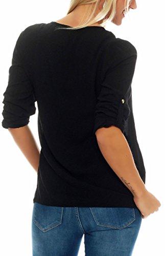 malito Bluse mit Maxi-Zipper Hemdbluse Tunika 9051 Damen One Size Schwarz