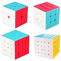 KidsPark Rubix Cube Set 2x2 3x3 4x4 5x5 , Magic Speed Cube Puzzle Toys For Kids & Adults, Vivid Color Stickerless