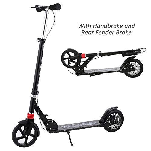 WeSkateA2 Erwachsener Cityroller/Tretroller/Scooter/Roller mit 3 Sekunden Klapp System, große Räder, Verstellbarer Lenker, Scheibenbremsen Kick Roller mit Aluminium T-Rohr und Fußständer bis 220 lbs