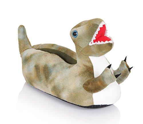 LoungeableDinosaur - botas sin cordones Unisex, para niños , color verde, talla 30-31 EU/M
