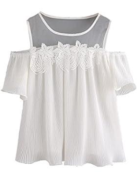 HARRYSTORE Mujeres de manga corta fuera del hombro de encaje blusa rayada Casual Tops Blanco Camiseta
