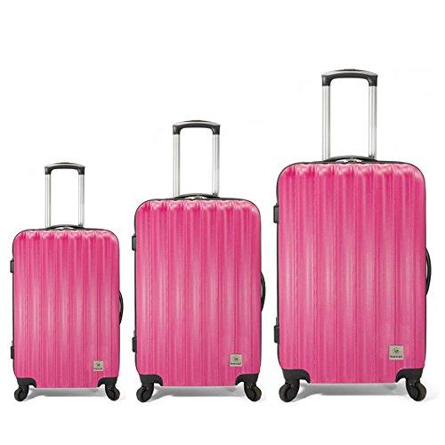 Conjunto de maletas ABS. Juego de equipaje de 3 maletas, maleta rígida ligera con 4 ruedas (Rosa)