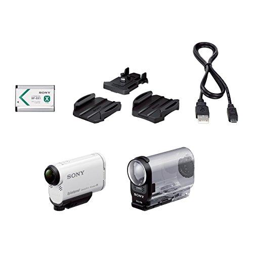 Sony Color-video-kamera (Sony HDR-AS200V Full HD Actioncam (ZEISS Tessar Objektiv mit 170 Ultra-Weitwinkel, verbesserter Optical Steadyshot, Vollständige Sensorauslesung ohne Pixel Binning, Exmor R, Stereo Mikrofon) weiß)