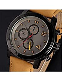 ELECTROPRIME Men Casual Matte Synthetic Leather Band Round Dial Sports Quartz Wrist Watch