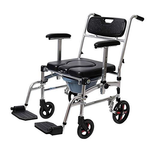 WLIXZ Nachttisch Kommode Stuhl, Senioren Leichtgewichtiger Behindertenstuhl mit großer Kapazität, w/Armlehne Abnehmbarer Eimer