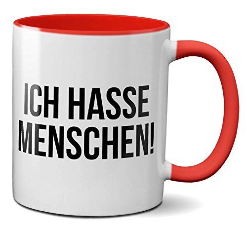 PAPAYANA - 1016 - ICH-HASSE-MENSCHEN - Beidseitig Bedruckte Tasse 325ml 11oz - Große Farbauswahl - Rot