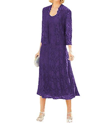 O.D.W Damen Spitze Formales Brautkleider Brautmutter Kleider mit Jacke Vintage Brautkleider(Lila, 40) (Mutter Des Bräutigams Kleider)