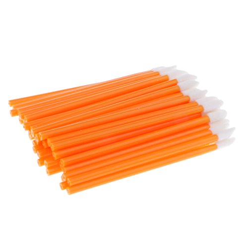 Homyl 50pcs Brosse Jetable à Rouge à Lèvres Liquide, Pinceaux de Maquillage à Lip Gloss - Orange