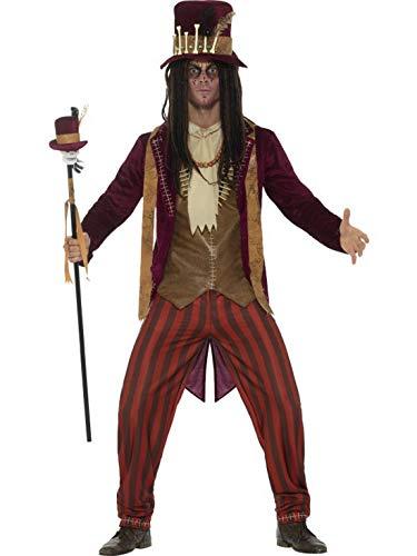 Luxuspiraten - Herren Männer Kostüm Voodoo Hexen Doktor Deluxe, Hose Jacke Weste Kette und Hut, Witch Doctor, perfekt für Halloween Karneval und Fasching, L, Braun