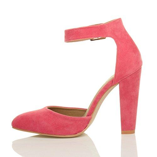 Femmes haute large talon boucle lanière pointu escarpins chaussures pointure Daim corail