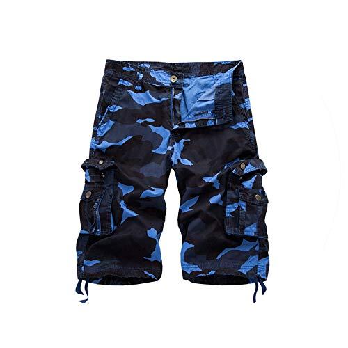 Camouflage Cargo Shorts Men Summer Camo Casual Mens Shorts Cotton Outdoor Men Short Pants,Blue Camouflage,29