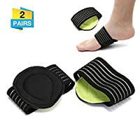Charminer Cushioned Compression Arch Support,Fallen Arch Support Heel Spurs Plantar Fasciitis Foot pad&Orthotic Insoles&Socks Padded, Breen-black, Arch Support-2pair