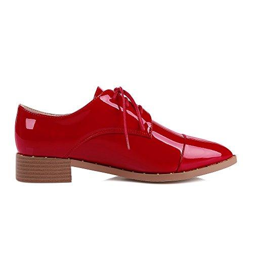 VogueZone009 Damen Niedriger Absatz Lackleder Rein Schnüren Spitz Zehe Pumps Schuhe Rot