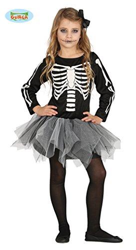 Guirca schauriges Skelett Kleid für Mädchen Halloween Tutu Kinder Kostüm Gr. 98-146, ()