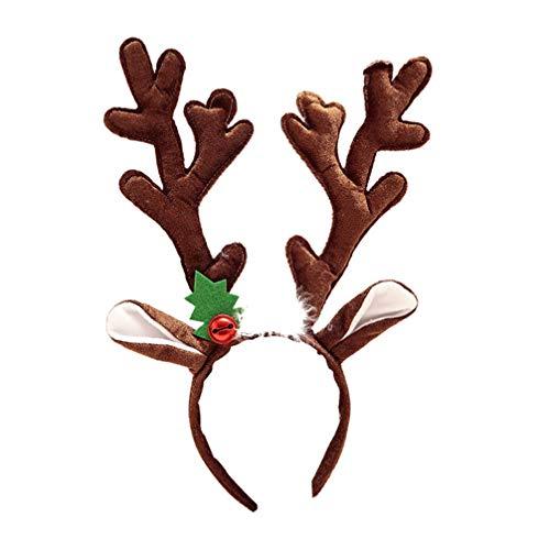 Amosfun weihnachten stirnband rentier elch hirschhorn stoff kopfschmuck partei liefert für kinder baby frauen mädchen cosplay (braun)