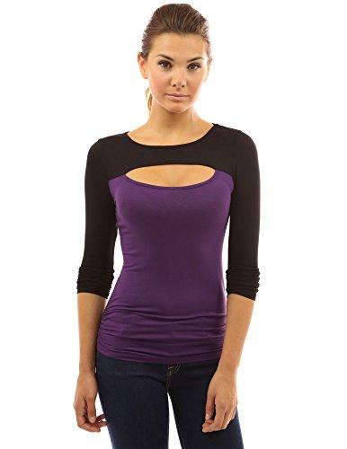 PattyBoutik Chemise Femme Col ras du cou avec Keyhole noir et violet