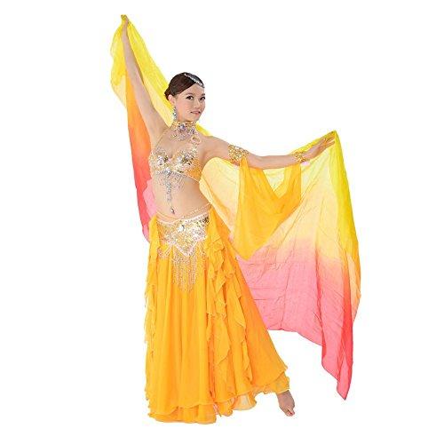 Indien Bauchtanz Schal Schleier Erwachsene Dye Seide Handgefertigte Bunte Professionelle Performance Props 250 * 110Cm . Yellow . (Tanz Ballsaal Kostüm Design)