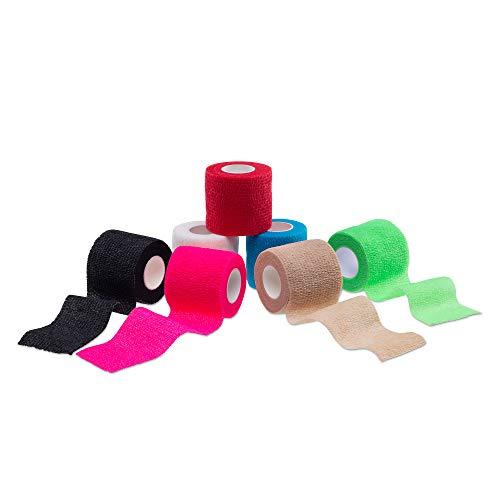 Ziatec Cohesive Tape - Elastische, selbsthaftende Kohäsive Bandage - Breite: 5,0 cm - Haftbandage, Wundverband, Fixierverband für Mensch und Tier, Farbe:6 x pink (6 rolls 5.0 cm) - Kohäsive Bandage Wrap